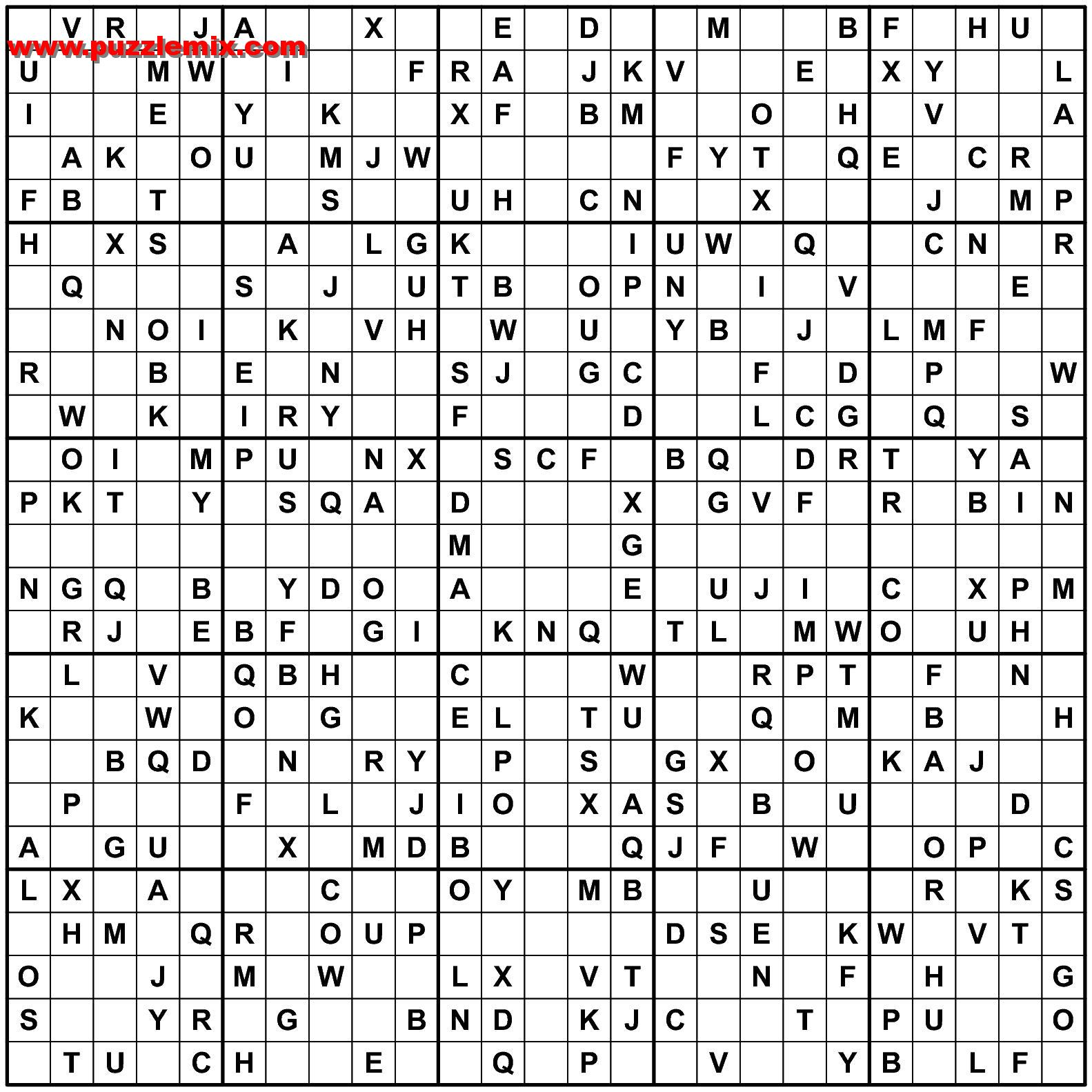 Wählen Sie eines alphadoku 25x25 Sudoku-Rätsel online spielen.