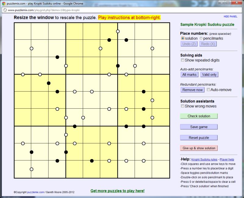 puzzlemix com: puzzlemix player instructions: Kropki Sudoku