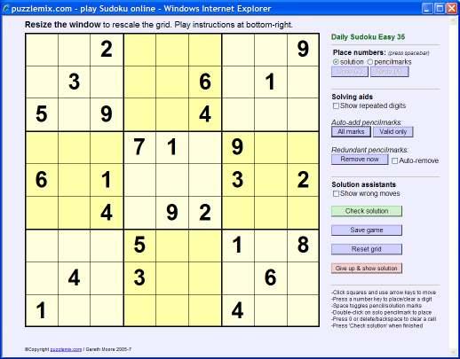 puzzlemix com: puzzlemix player instructions: sudoku